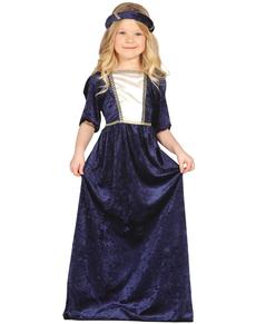 Costume da Dama Medievale blu per bambina