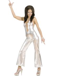 Costume da bellezza disco argentato per donna
